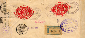 Vintage Envelope. Tattered envelope from the 1940's sent from Mexico Stock Photos