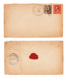 Vintage Envelope. The front and back of an aging, 1902 United States envelope with cancelled postage stamps and wax seal on back. Isolated on white with clipping Stock Photography