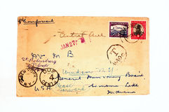 Vintage envelope. Old envelope with postage Royalty Free Stock Image