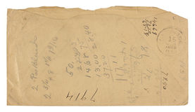Vintage Envelope Back used for Math. The back of a brown grungy, stained, torn vintage envelope bearing handwritten calculations. Envelope bears a 1855 Carthage Royalty Free Stock Images