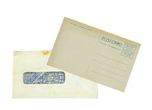 Vintage envelope and postcard Stock Images