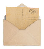 Vintage envelope and postcard. Royalty Free Stock Photo