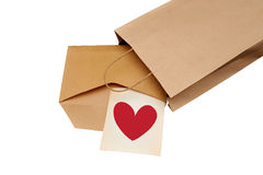 A vintage envelope with red heart Stock Photos