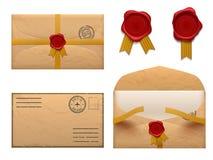 Vintage envelope. Retro envelopes letter with wax seal stamp, old mail delivery vector set royalty free illustration
