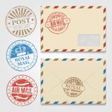 Vintage envelopes template with grunge postal stamps Royalty Free Stock Image