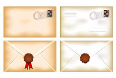 Vintage envelopes with wax seal Stock Photo