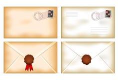 Vintage envelopes with wax seal Stock Photo