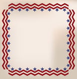 Vintage ephemera American frame. Red, white and blue faded stars and stripes antique border, frame or box on burnt or weathered Royalty Free Stock Photo