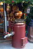 Vintage equipment for beer production on Christmas market Royalty Free Stock Photos