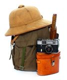 Vintage equipment for travellers. Vintage articles for travel to tropical destination Stock Photos