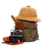 Vintage equipment for travellers. Vintage articles for travel to tropical destination Stock Photo