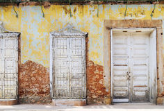Vintage eroded facade in trinidad, cuba. Detail of eroded house facade in vintage town trinidad, cuba royalty free stock photo