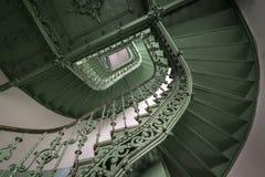 Vintage, escadaria espiral do verde Foto de Stock Royalty Free