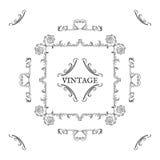 Vintage, estilo retro Elementos y letras, blac del diseño del vector Imágenes de archivo libres de regalías
