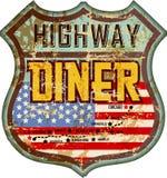 Vintage et signe américain battu de wagon-restaurant d'émail, illustration libre de droits