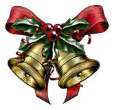 Vintage Etching Christmas Holly Bow vector illustration