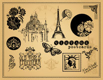 Vintage Etchings and Design Elements Royalty Free Stock Image