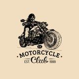 Vintage eternal biker illustration for custom, chopper garage label etc. Vector hand drawn skeleton rider on motorcycle. Royalty Free Stock Photography