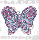Vintage ethnic butterfly illustration Stock Photography
