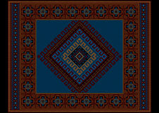 Vintage ethnic dark burgundy carpet with blue at the middle Royalty Free Stock Images