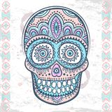 Vintage ethnic hand drawn human skull Royalty Free Stock Photos