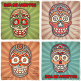 Vintage ethnic hand drawn human skull banners Stock Images