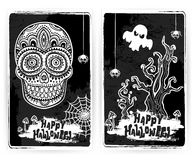 Vintage ethnic hand drawn human skull Royalty Free Stock Images