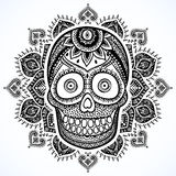 Vintage ethnic hand drawn human skull Royalty Free Stock Image