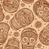 Vintage ethnic hand drawn human skull seamless Stock Photos