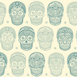 Vintage ethnic hand drawn human skull seamless Royalty Free Stock Images