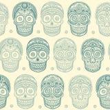 Vintage ethnic hand drawn human skull seamless vector illustration