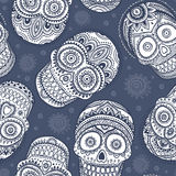 Vintage ethnic hand drawn human skull seamless Stock Images