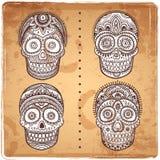Vintage ethnic hand drawn human skulls set vector illustration