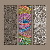 Vintage ethnic pattern card set. Stock Photo