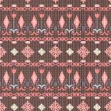 Vintage ethnic seamless pattern texture dark on bright background stripe Stock Photography