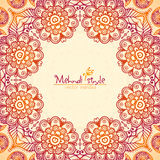 Vintage ethnic square floral frame in Indian Royalty Free Stock Images