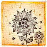 Vintage Ethnic sunflower background Stock Photos