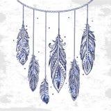 Vintage ethnic tribal feather seamless. Bohemian style. Stock Photos
