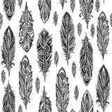 Vintage ethnic tribal feather seamless. Bohemian style. Royalty Free Stock Photography