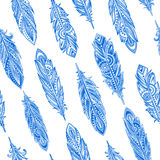 Vintage ethnic tribal feather seamless. Bohemian style. Royalty Free Stock Photos