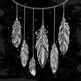 Vintage ethnic tribal feathers. Bohemian style. Stock Photography