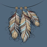 Vintage ethnic vector Feathers Royalty Free Stock Images