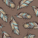 Vintage ethnic vector Feathers seamless pattern Stock Photography