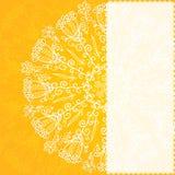 Vintage ethnic vector ornament orange background Stock Photo