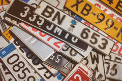 Vintage European car license plates Royalty Free Stock Images