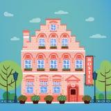 Vintage European City Hostel. Hotel Building Facade Royalty Free Stock Image