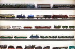 Vintage European toy - model of steam locomotives, trains, wagons Royalty Free Stock Image