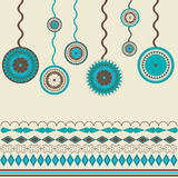 Vintage events background. Circles ornamental in blue and brown colored Stock Photos