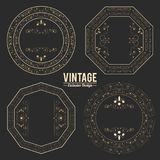 Vintage exclusive set of luxury golden badges and stickers. royal flourishes. Vector illustration royalty free illustration