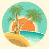 Vintage Exotic tropical island with palms and sun. On round symbol.Vector icon on old background Royalty Free Stock Image